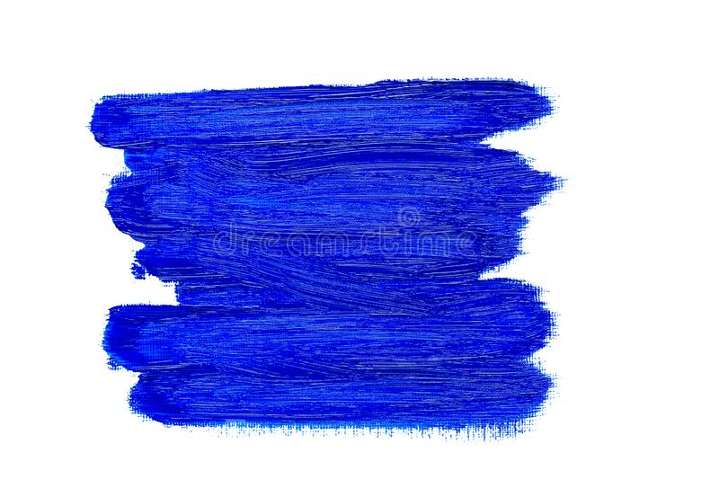 Abstract blue oil painting brush strokes. Abstract blue real oil painting brush strokes isolated on white background, painted with cobalt blue oil color royalty free stock image