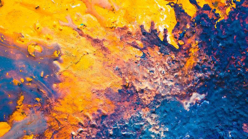 Abstract blue orange beach wave paint background royalty free stock photos