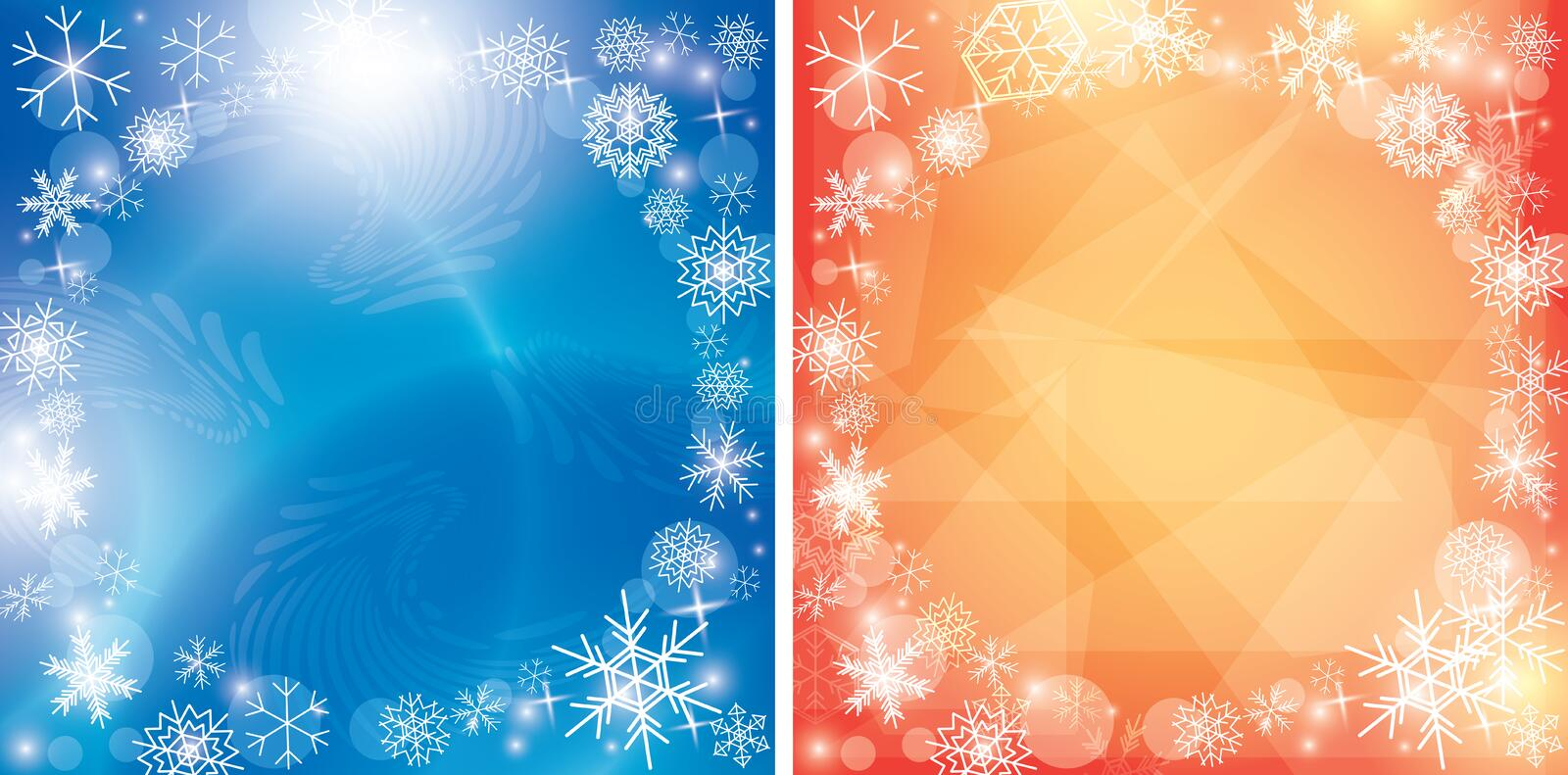 Abstract blue and orange christmas backgrounds with snowflakes - vector winter frame stock illustration
