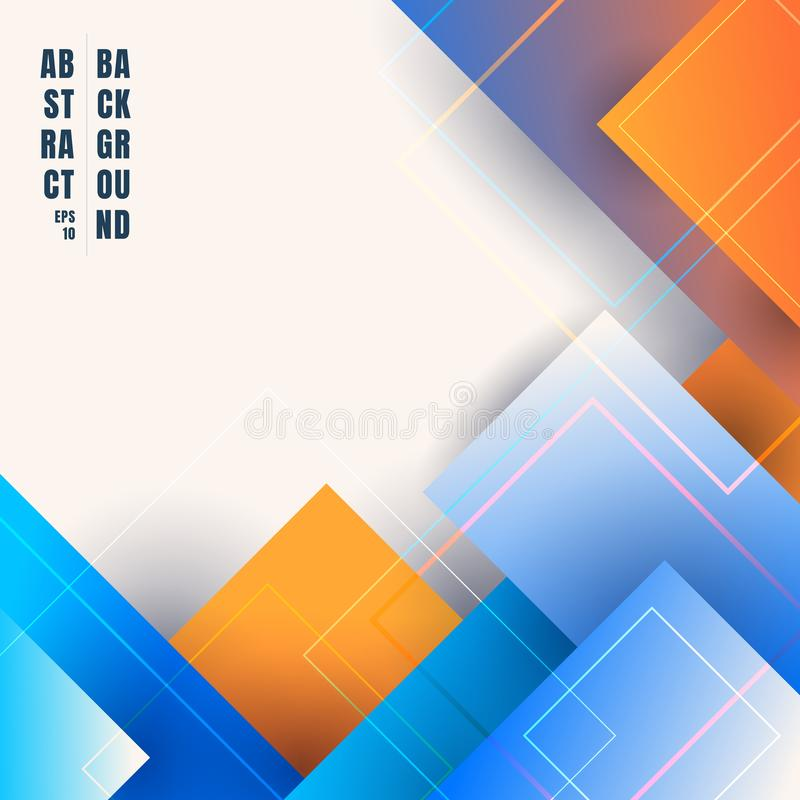 Abstract blue and orange gradient color geometric squares overlapping background with space for your text royalty free illustration
