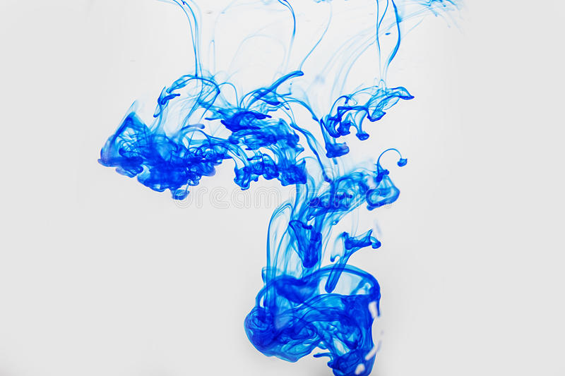Abstract blue paint drops in water. Abstract blobs of paint in water royalty free illustration