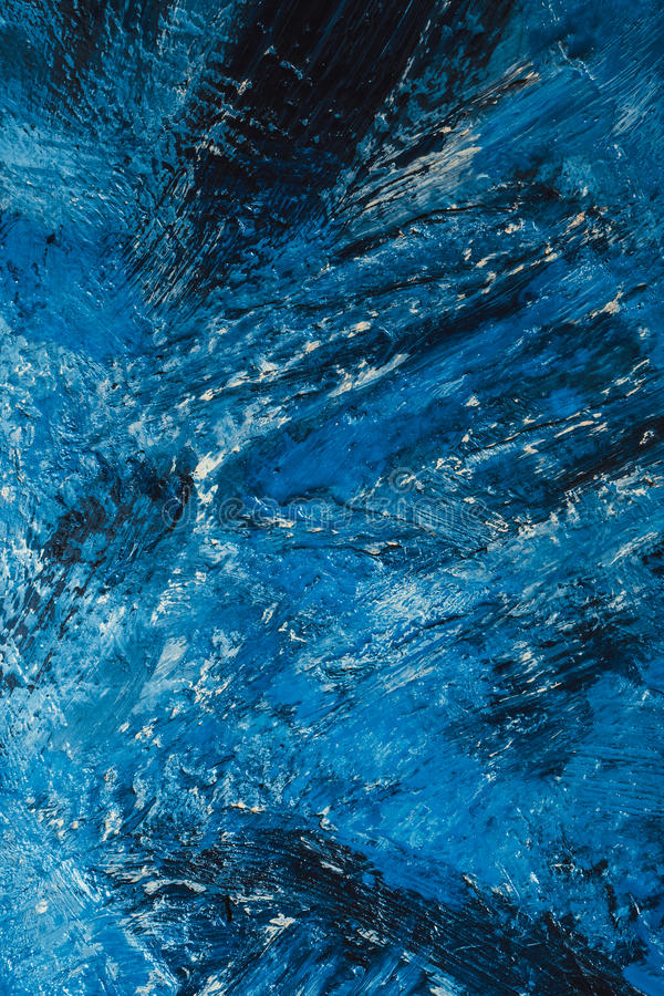 Abstract blue paint strokes on the background stock photography