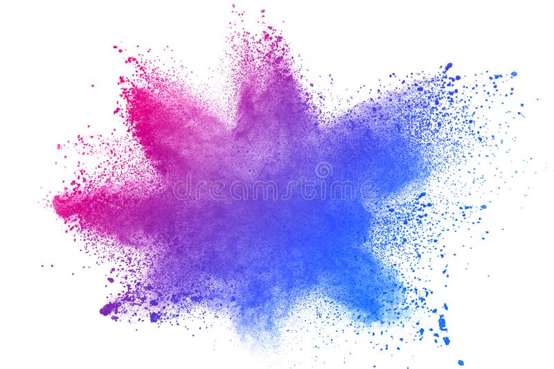 Abstract blue-pink dust explosion on white background. royalty free stock photo