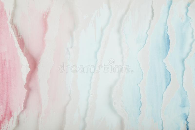 Abstract painted waves. Abstract blue and pink watercolor painted waves textured background royalty free stock image