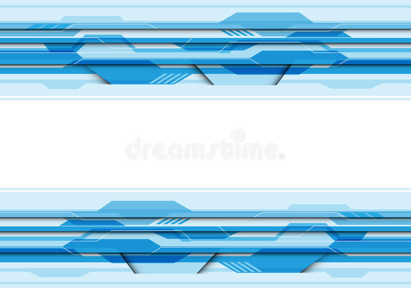 Abstract blue polygon circuit futuristic technology with white center blank space for text place design modern creative vector royalty free illustration
