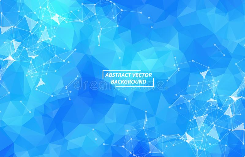 Abstract Blue Polygonal Space Background with Connecting Dots and Lines.  Connection structure and science background. Futuristic stock illustration