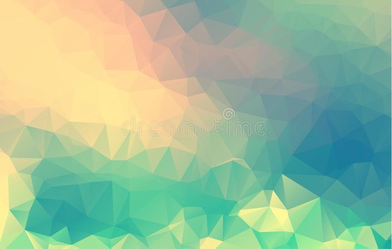 Abstract Blue, purple, pink geometric pattern, triangles background, polygonal design stock illustration