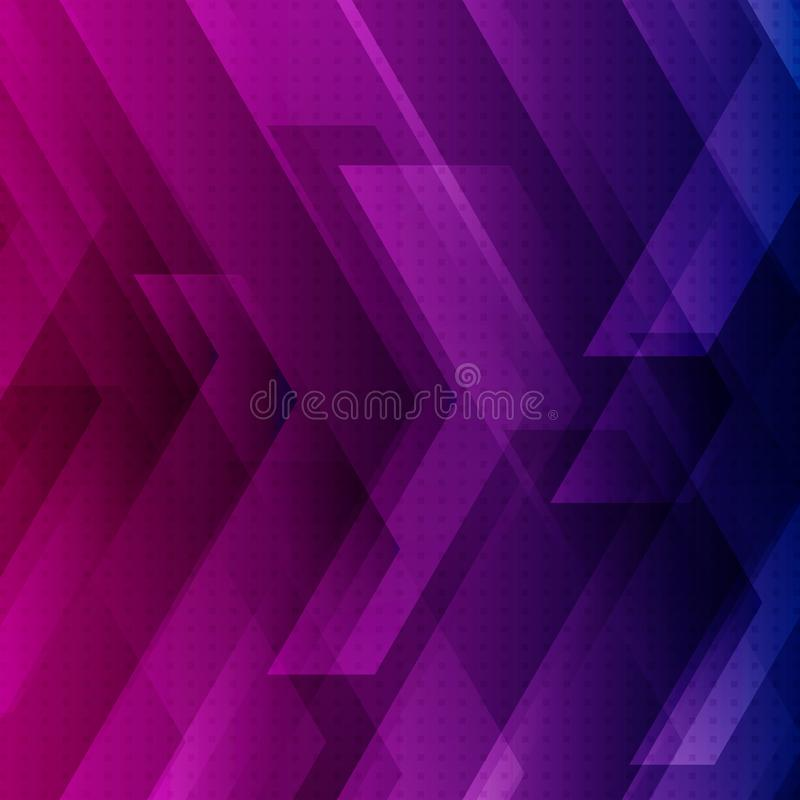 Abstract blue, purple and pink tech background with big arrows sign digital and stripes technology concept. Space for your text vector illustration