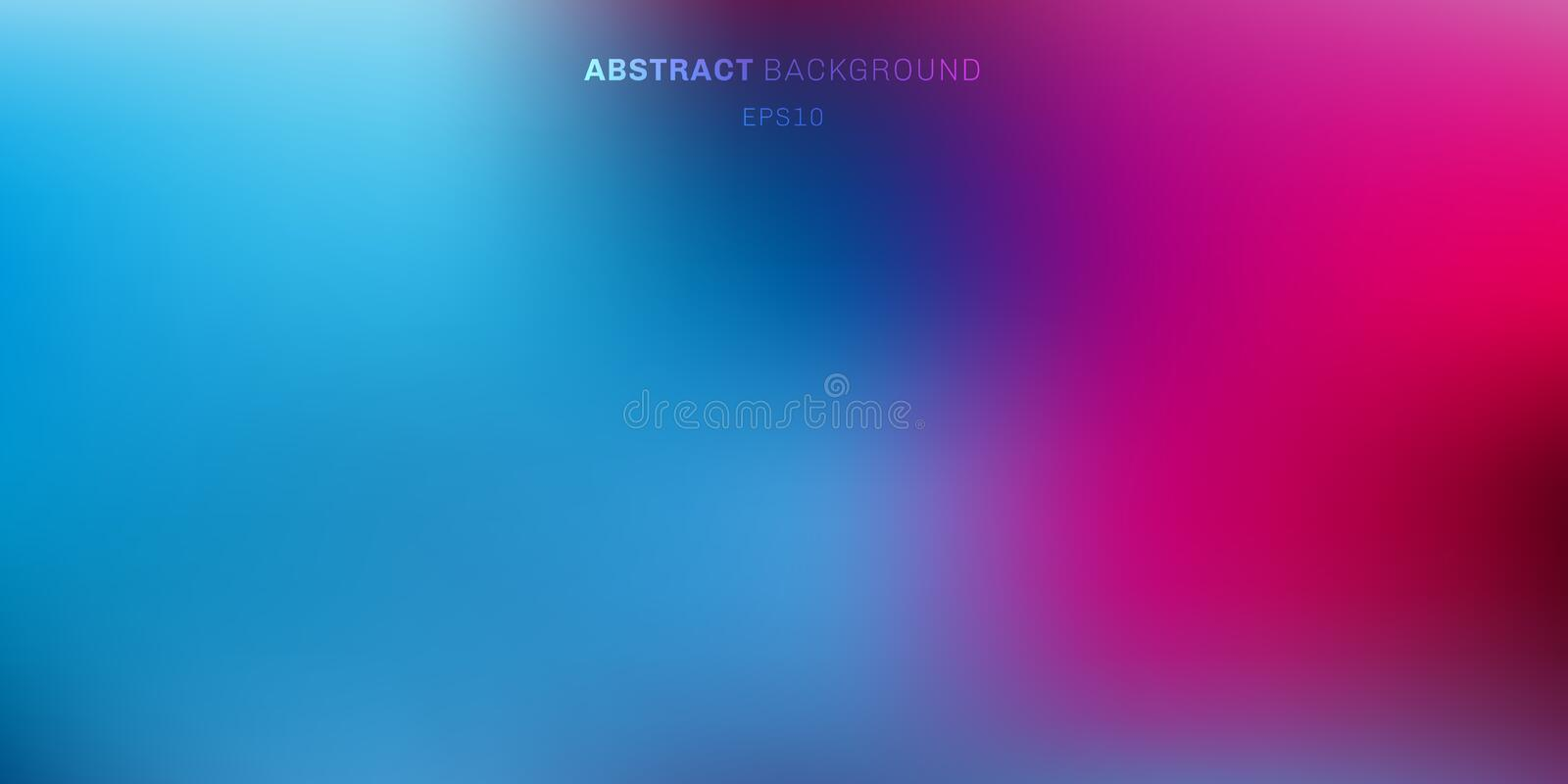Abstract blue, purple, pink vibrant color blurred background. Soft dark to light gradient backdrop with place for text stock illustration