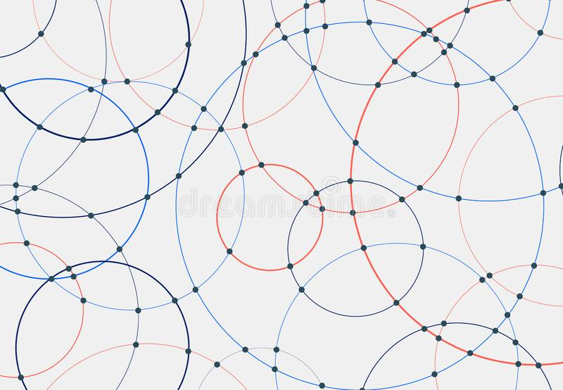 Abstract blue and red circles lines round overlay white background and connecting dots technology concept for your design vector illustration