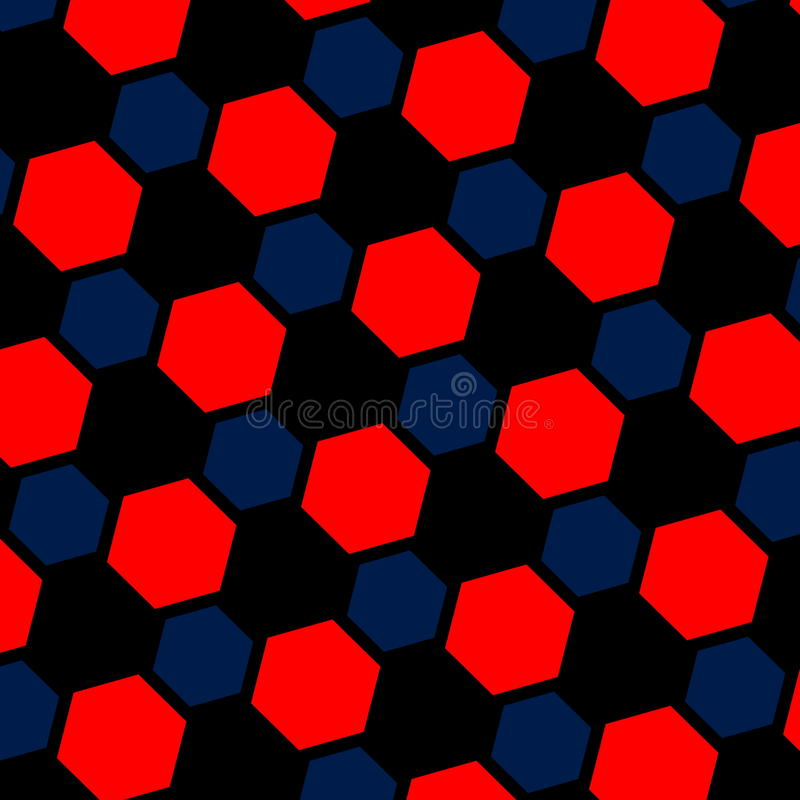 Abstract blue red hexagon illustration. Macro background. Pattern web page. Art design. Computer generated. Modern structure. Abstract blue red hexagon vector illustration