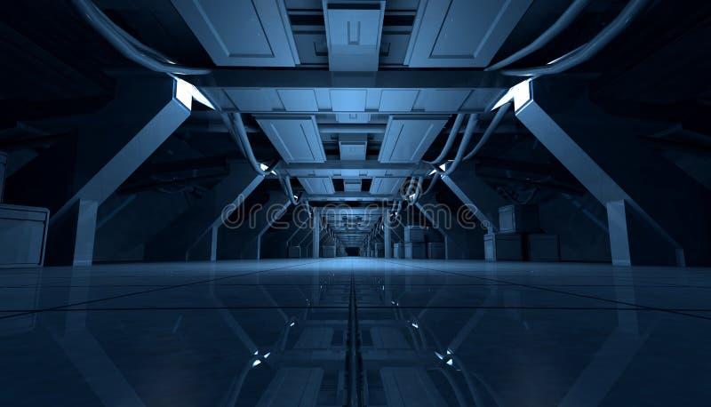 Abstract Blue Sci Fi Futuristic Interior Design Corridor.3D Rendering. stock illustration