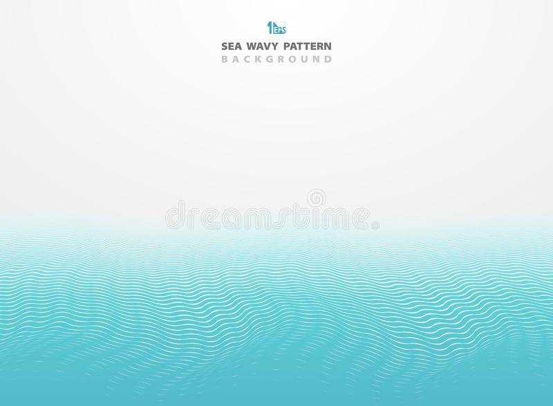 Abstract blue sea wavy pattern stripe lines background. You can use for ad, poster, brochure, template, cover design, annual royalty free illustration