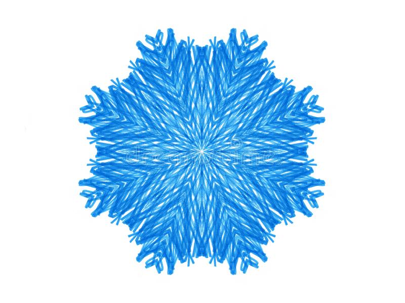 Abstract blue shape like a snowflake on a white vector illustration
