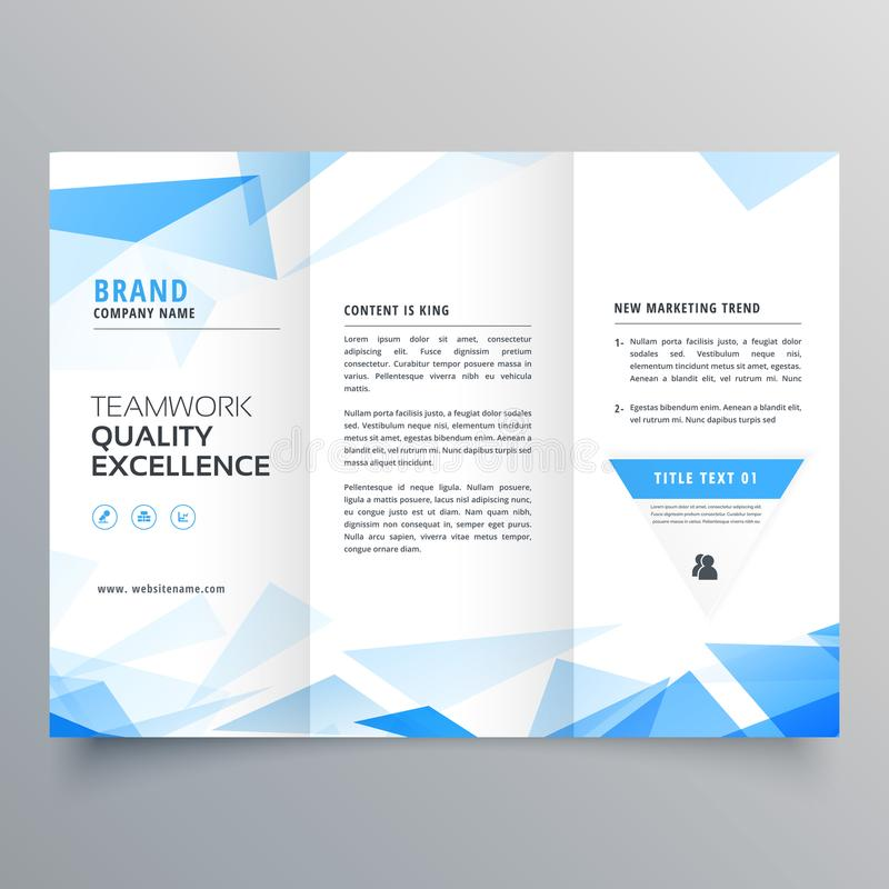 Abstract blue shape trifold business brochure design. Vector stock illustration