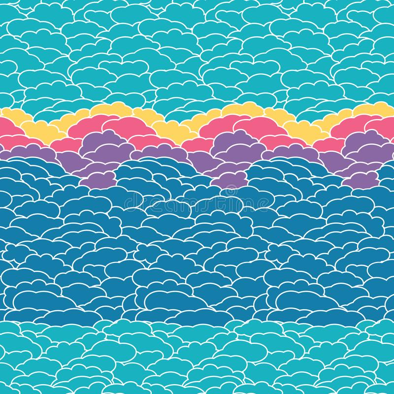 Abstract blue sky with clouds at sunset, vector seamless pattern background for fabric, wallpaper, scrapbooking projects royalty free illustration
