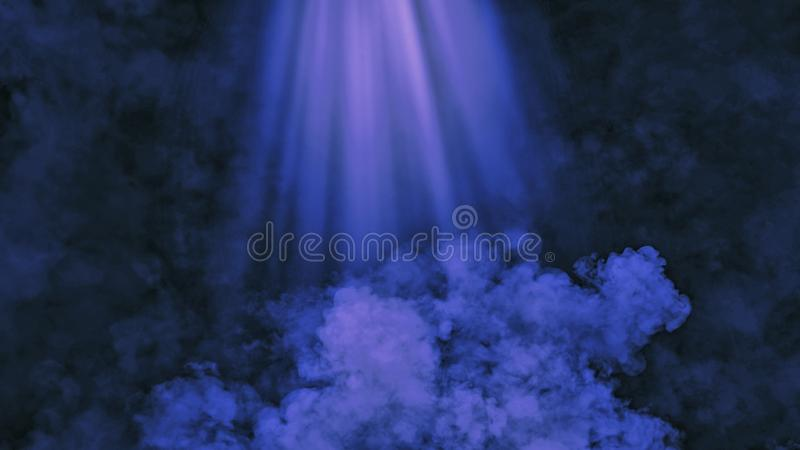 Abstract blue smoke with light effect. Lighting spotlighting texture overlays. Background royalty free stock image