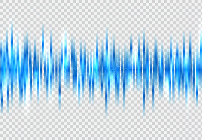 Abstract blue sound wave pattern elements with glowing on tranperency background. vector illustration