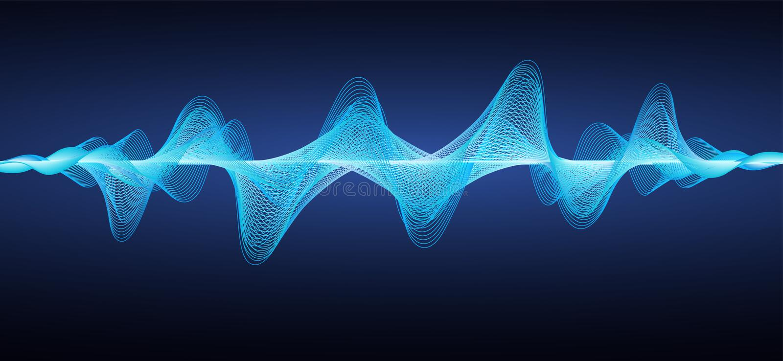 Abstract blue sound waves. Effect wavy lines. vector illustration