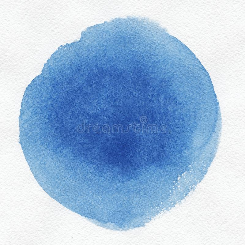 Watercolor. Abstract blue spot on white watercolor paper. royalty free stock photo