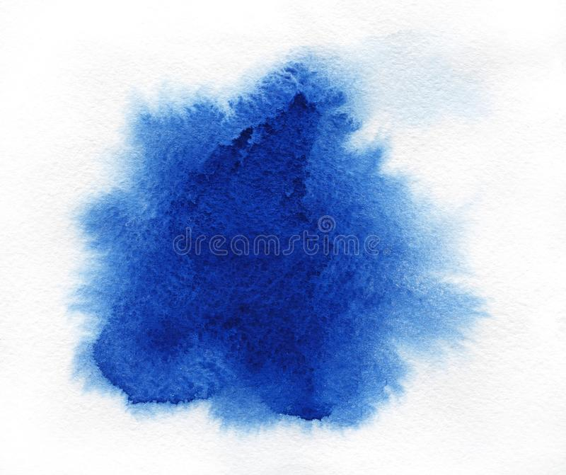 Watercolor. Abstract blue spot on white watercolor paper. Abstract blue spot on white watercolor paper stock photography