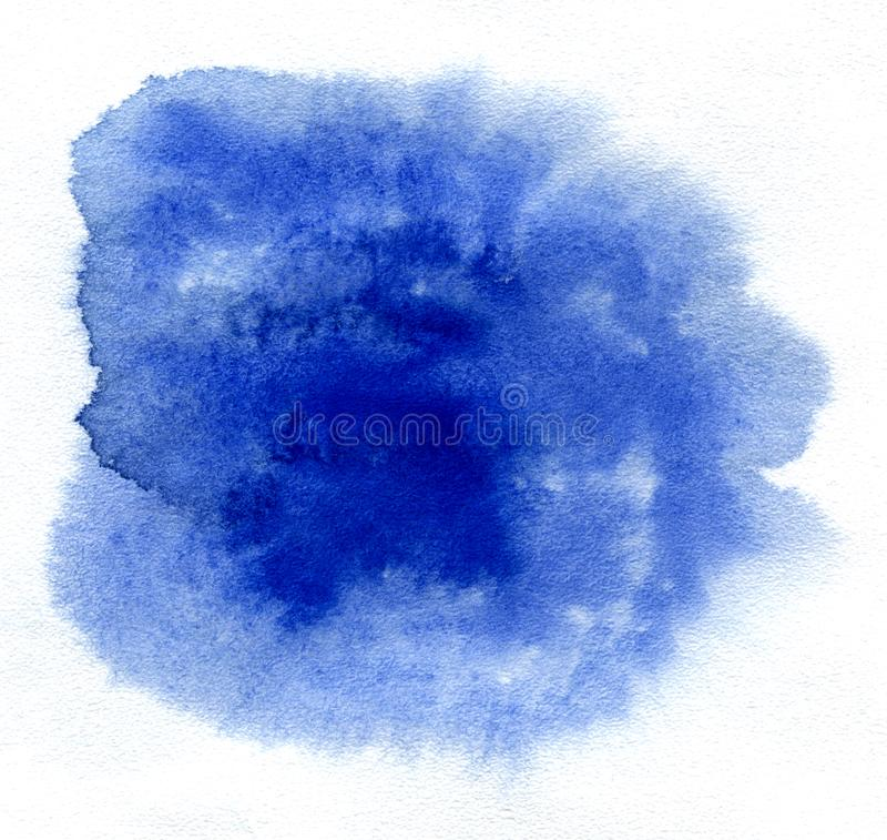 Watercolor. Abstract blue spot on white watercolor paper. Abstract blue spot on white watercolor paper royalty free stock image