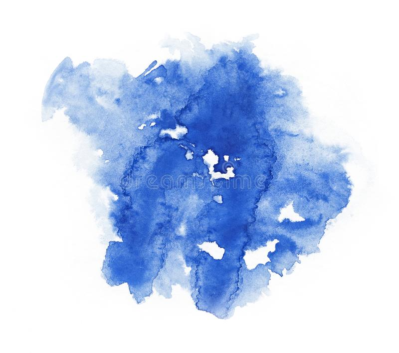 Watercolor. Abstract blue spot on white watercolor paper. Abstract blue spot on white watercolor paper stock images
