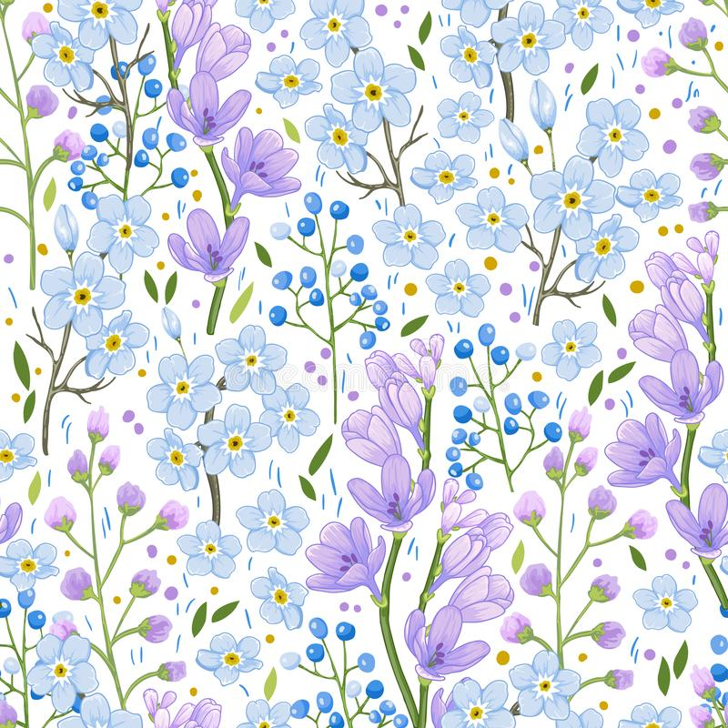 Abstract blue spring flowers pattern stock photography