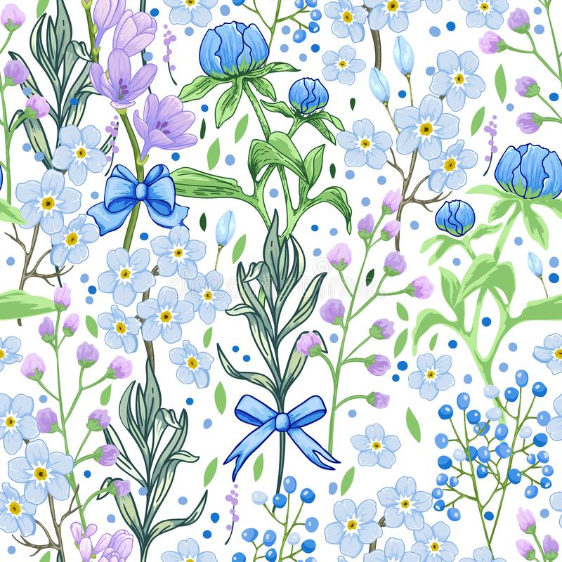 Abstract blue spring flowers pattern royalty free stock photos