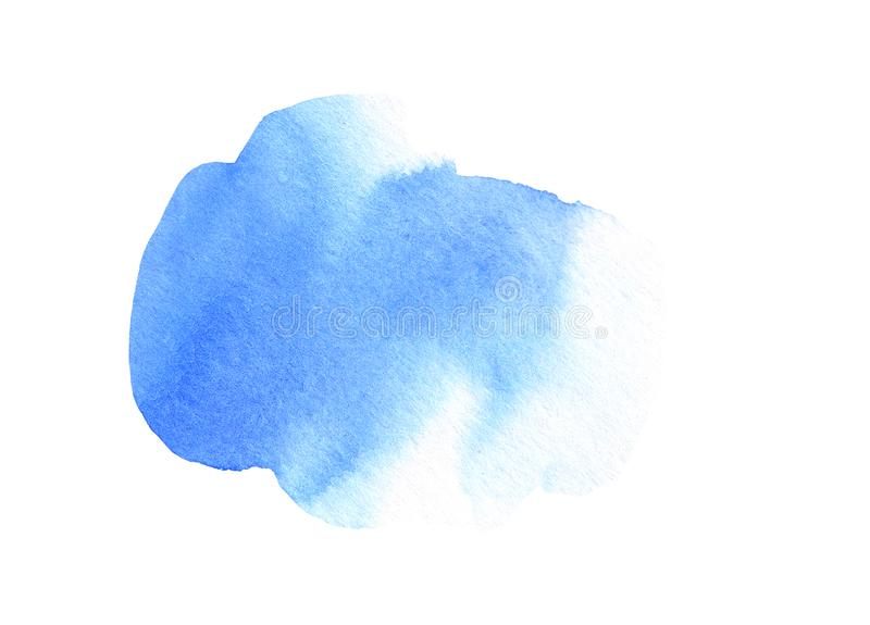 Abstract blue stain on white background. Deep blue color blot watercolor illustration. Watercolour brush of wet paint. On paper. Handdrawn watercolour mark stock illustration