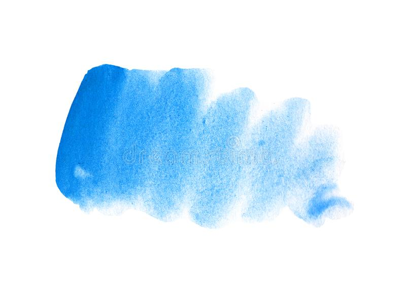 Abstract blue stain on white background. Sky blue color blot watercolor illustration. Watercolour brush of wet paint. On paper. Handdrawn watercolour mark vector illustration