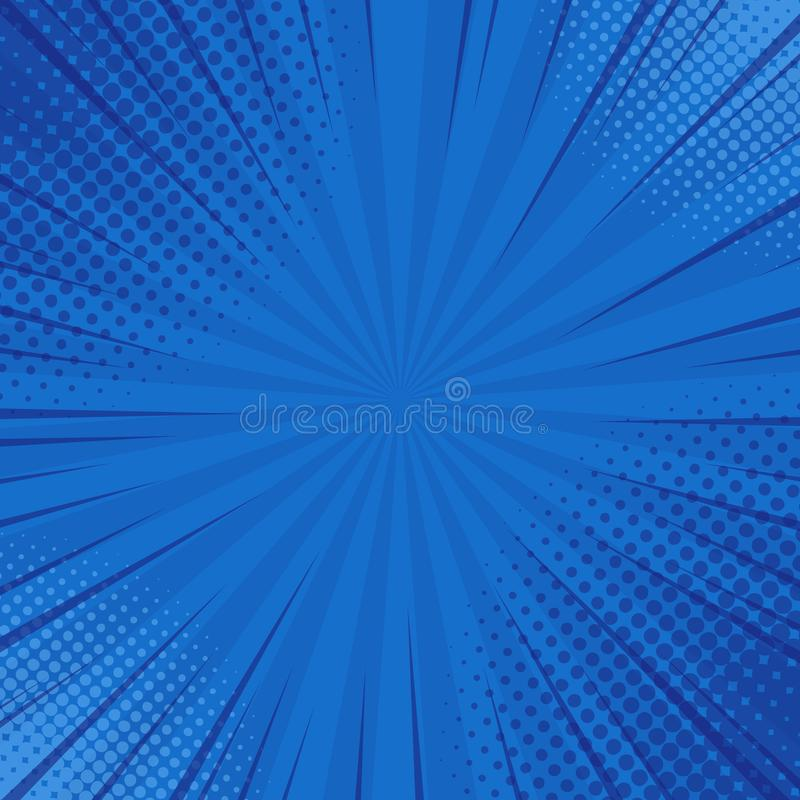 Abstract blue striped retro comic background with halftone corners. Cartoon turquoise background with stripes and half tone royalty free illustration