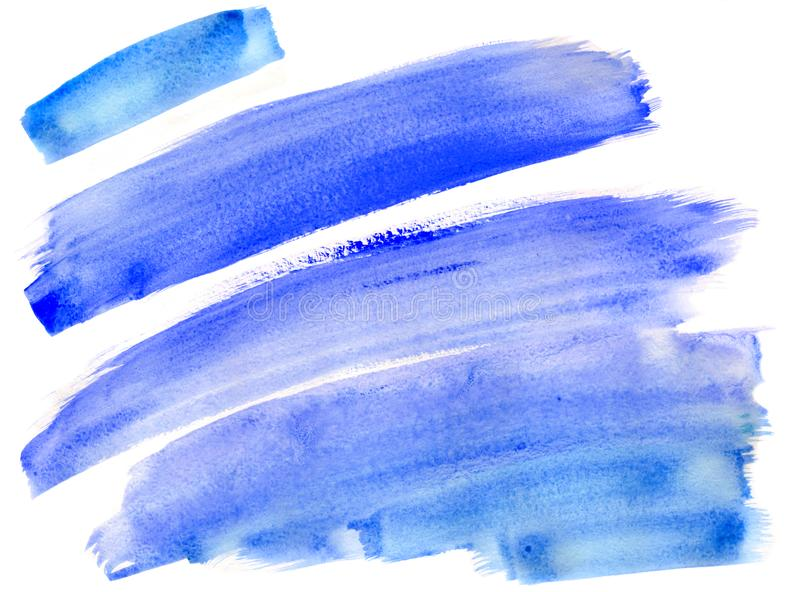 Abstract blue stripes watercolor painting background stock image