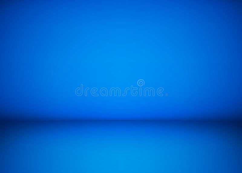 Abstract blue studio workshop background. Template of room interior, floor and wall. Photography workshop space. Vector stock illustration