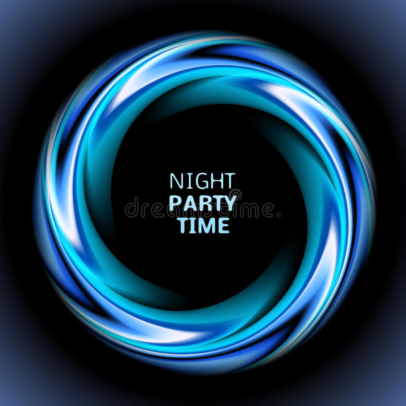 Abstract Blue Swirl Circle On Black Background. Stock