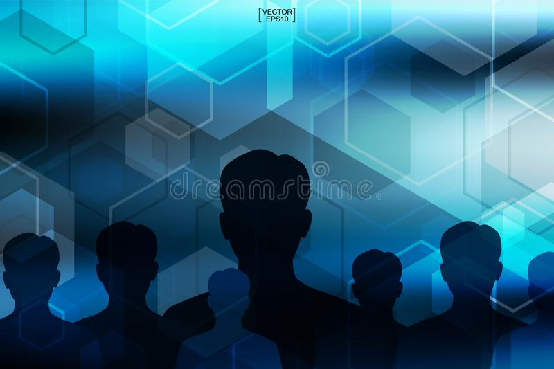 Abstract blue technology background with human symbol.Vector. vector illustration
