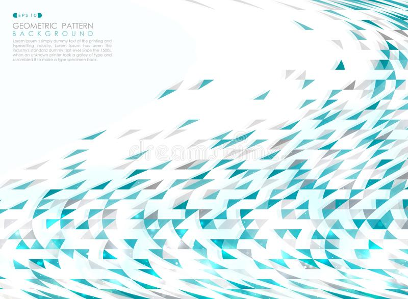 Abstract blue technology triangle geometric pattern with glitters effect background stock illustration