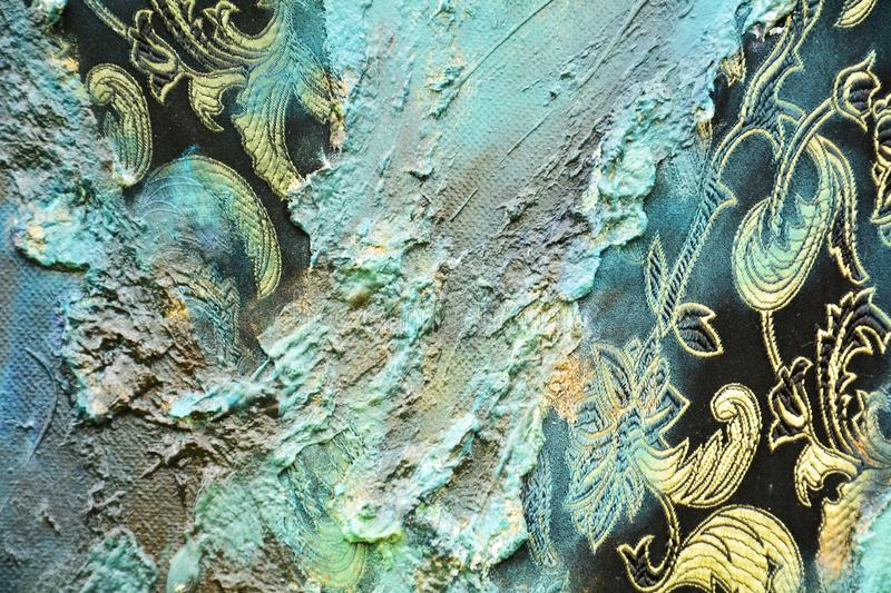 Abstract paint organic textile hypnotic background. Abstract blue textile vintage paint and structure, hand made painting texture, vintage abstract background in royalty free stock photo