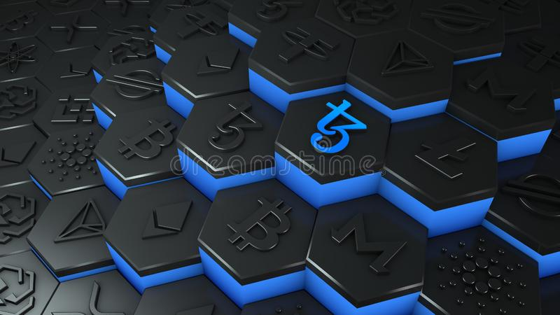 Abstract blue Tezos coin cryptocurrency with blockchain network connection in blockchain conceptual 3d illustration. Cyber tech royalty free illustration