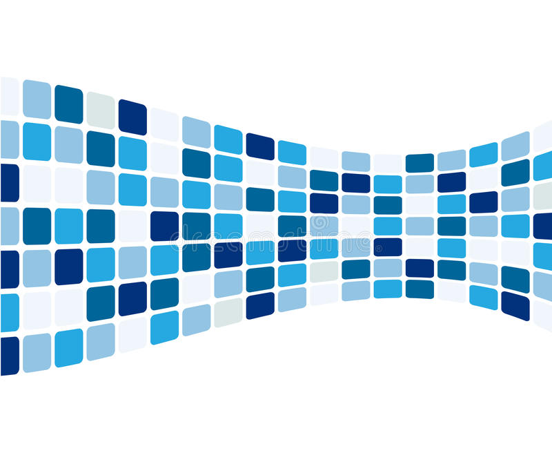 Abstract blue tiles. Stylized abstract design of blue tiles isolated against a white background. Also in vector format stock illustration