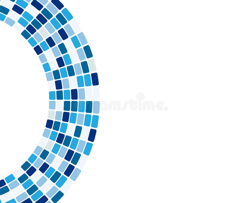 Abstract blue tiles in arc. Abstract design of blue tiles in an arc design isolated against a white background royalty free illustration