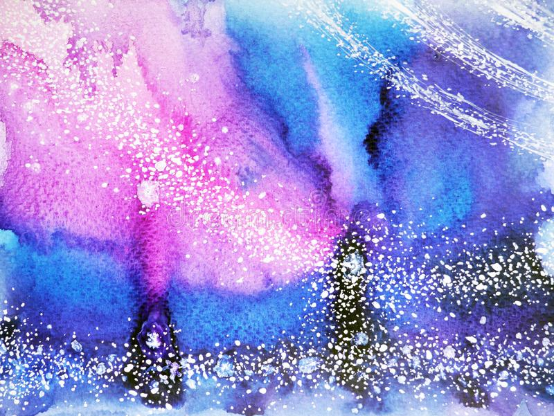 Abstract blue tone universe watercolor painting background stock illustration
