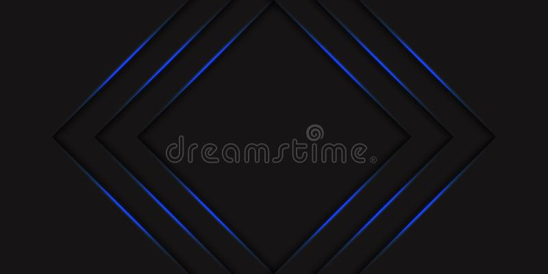 Abstract blue triangle halftone background with gradient blue neon glowing arrows. Hi tech concept with shiny lines. Template stock illustration