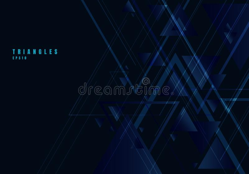 Abstract blue triangles shape and lines on black background for business technology style. Geometric design element for elegant royalty free illustration