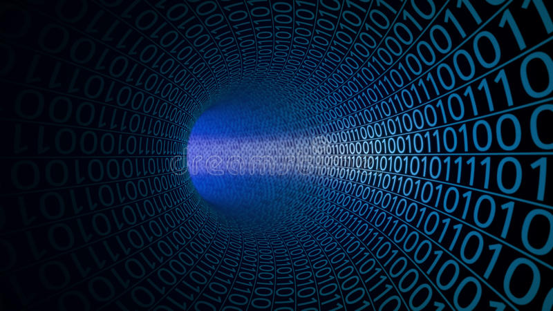 Abstract blue tunnel made with zeros and ones. Hi-tech background. IT, binary data transfer, digital technologies stock illustration