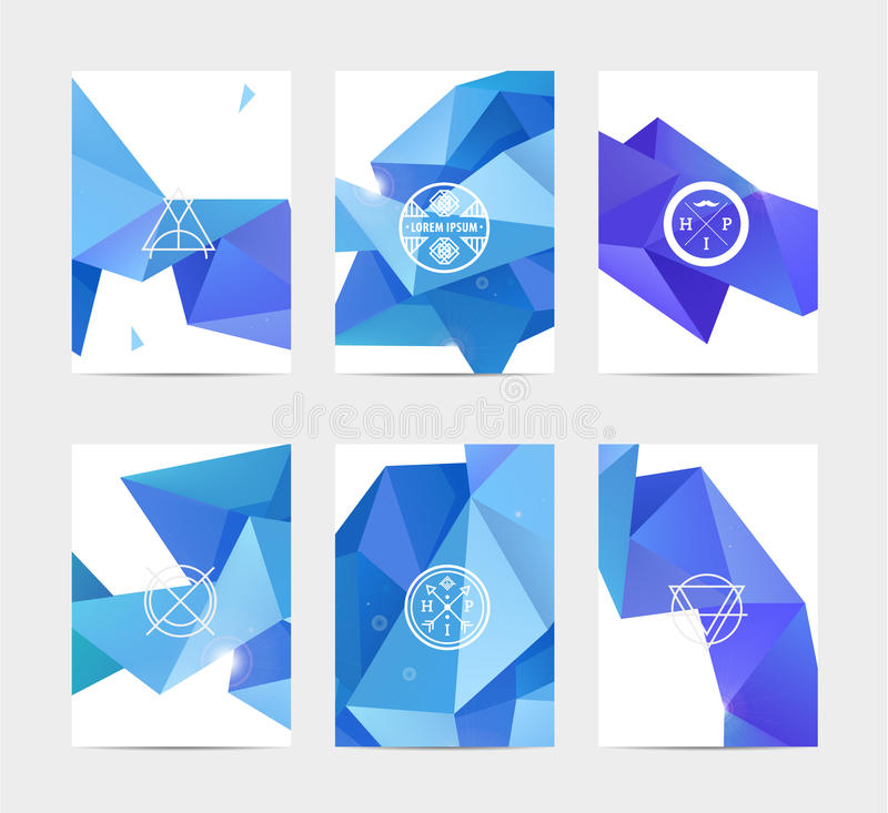 Abstract blue user interface template set. Collection labels in geometric triangular pattern with trendy white thin line logos royalty free illustration
