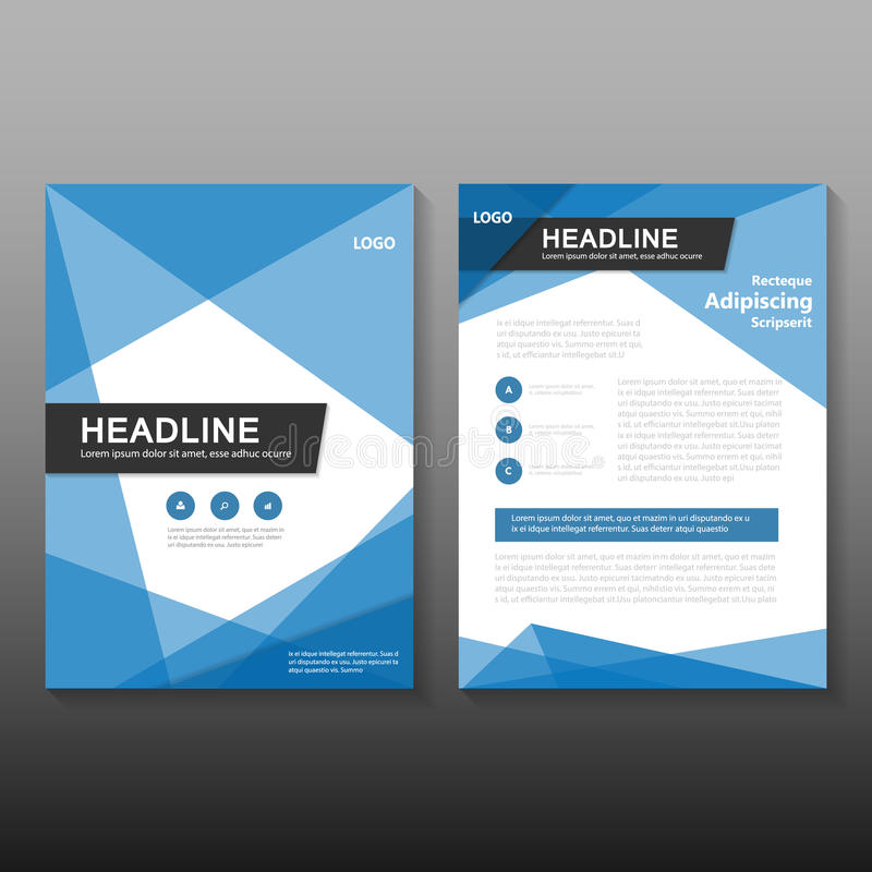 Abstract Blue Vector annual report Leaflet Brochure Flyer template design, book cover layout design. Abstract triangle Blue polygon annual report Leaflet stock illustration