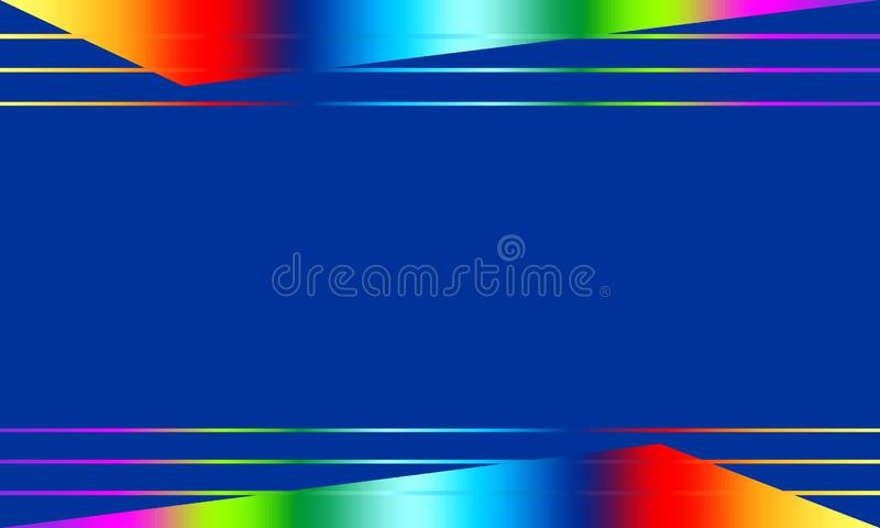 Abstract blue vector background with shape and lines of rainbow colors. royalty free illustration