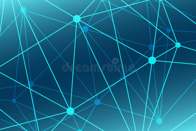 Abstract blue vector background. Triangle network pattern. Illustration for technology, science, neural, structure, net, template vector illustration