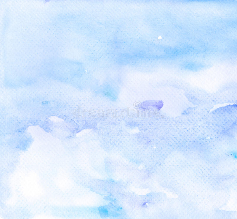 Abstract blue violet watercolor background. On white paper stock illustration